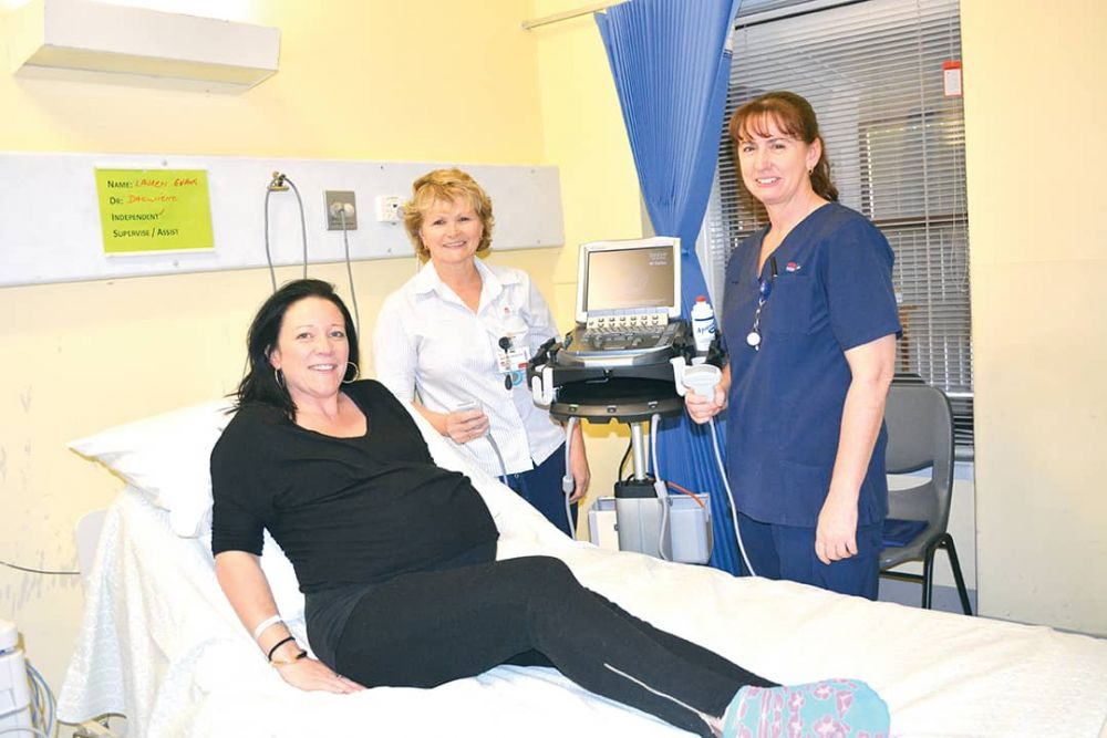 Narelle McKenzie and Julie Brewis with expectant mother Lauren Newell who will be one of many residents to benefit from the hospitals new portable ultrasound machine.