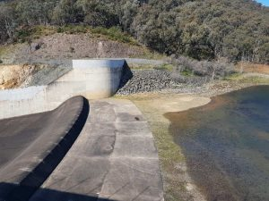 The water is creeping towards the spillway at Blowering Dam.